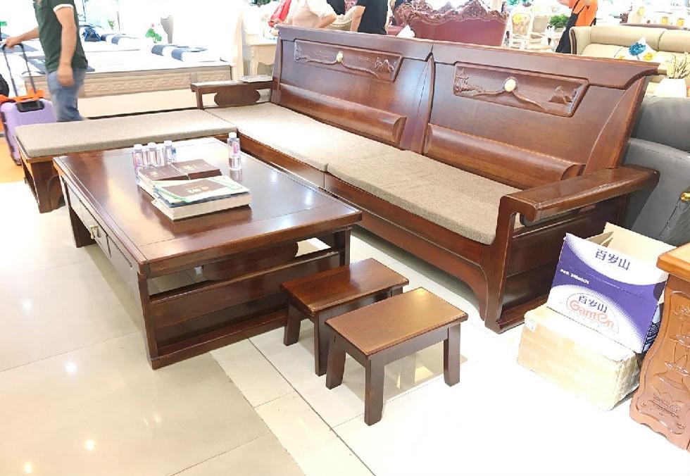 新中式橡木转角沙发