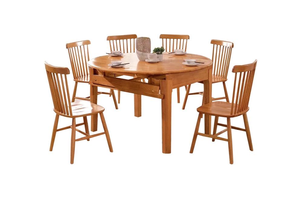 1.35米北欧全橡木实木餐桌,实木餐椅