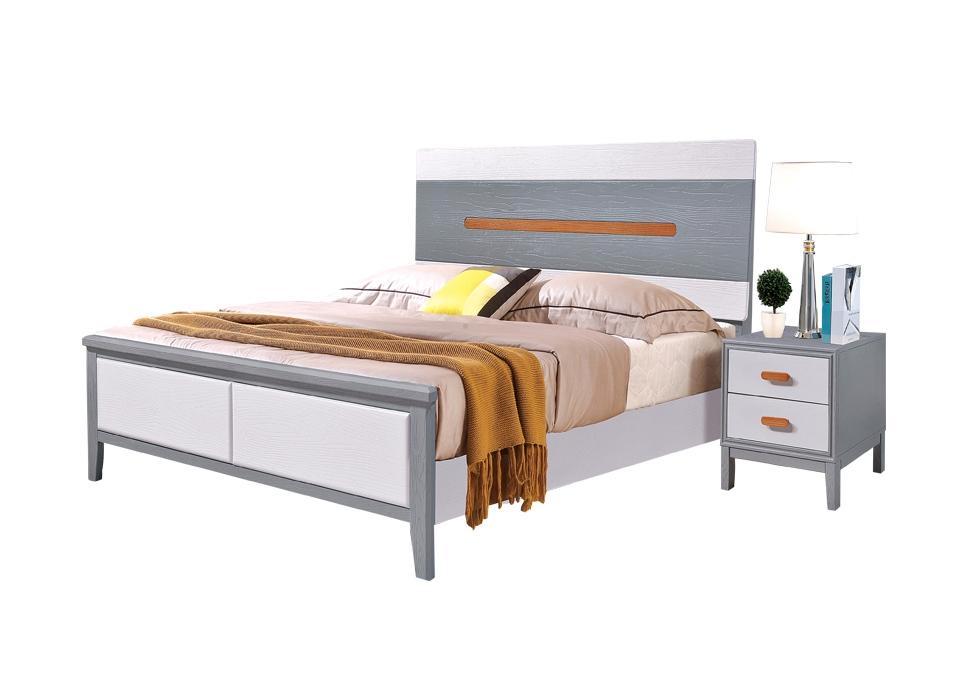现代轻奢橡木床