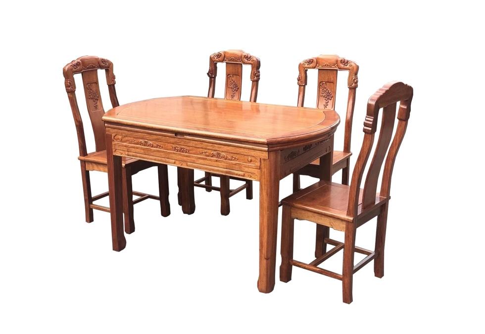 1.38米中式红木餐桌波萝格