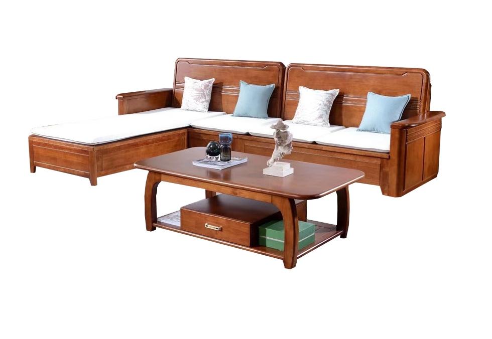 3.2米休闲橡木转角沙发