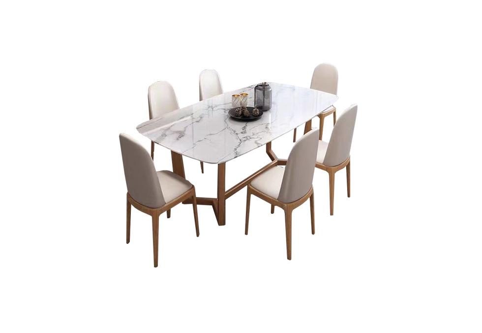1.3米橡木岩板长桌