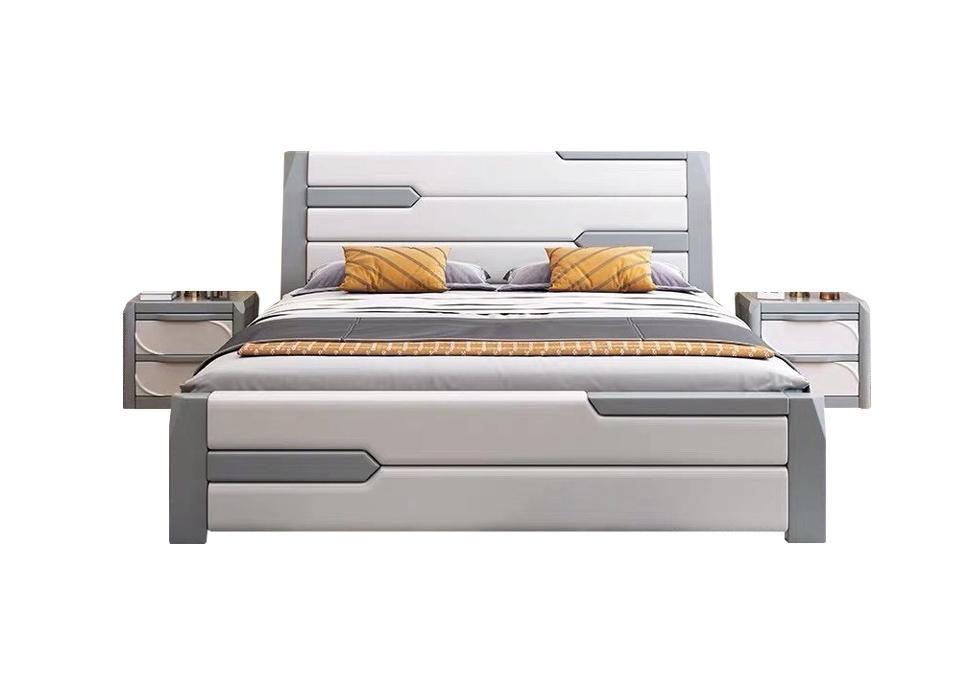 现代风格橡木轻奢床