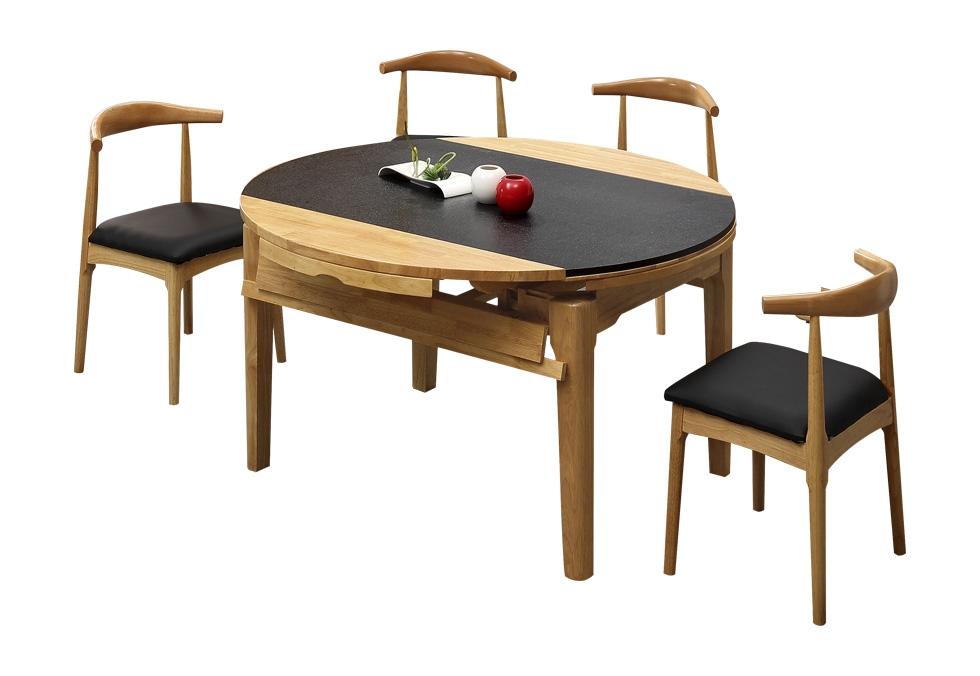有三个尺寸北欧橡木石面餐桌