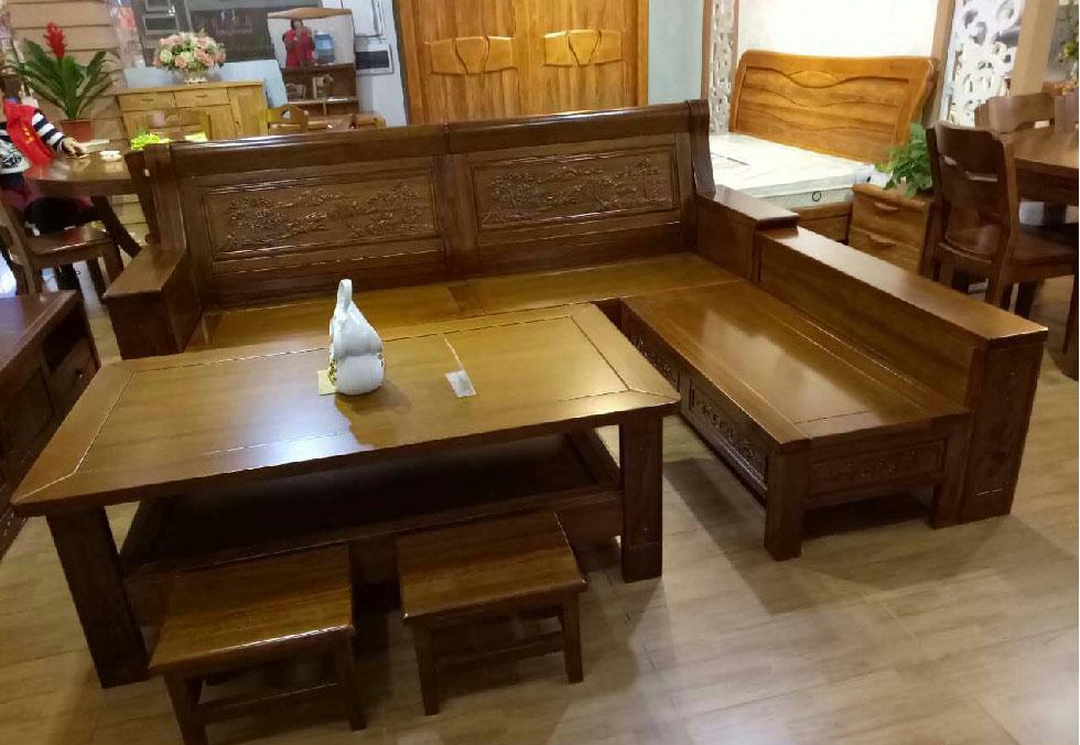 3.0米黑胡桃木沙发