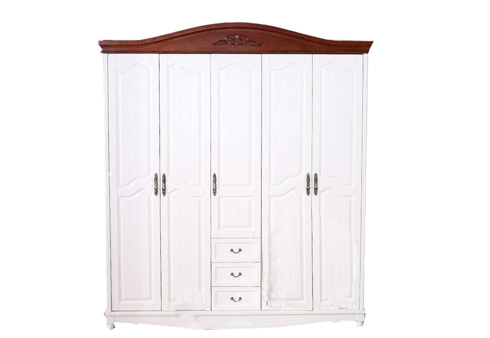 五门白色美式全柏木衣柜