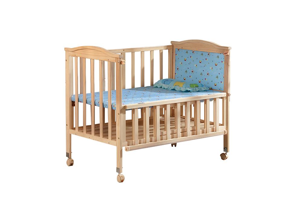 实木无漆婴儿床