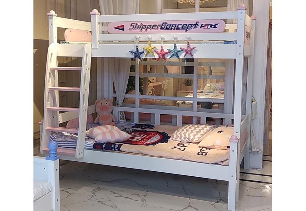 美式橡木子母床 儿童实木双层床